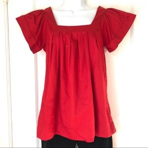 French Connection Red Square Neck Cotton Top